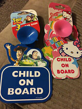 Brand New Hello Kitty/Toy Story 3 Child On Board Window Car Sign