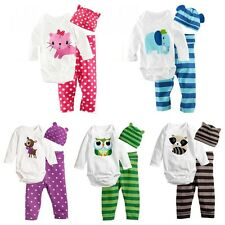 3pcs/set Baby Boy Girls Kids Newborn Infant Romper Hat Bodysuit Outfit Clothing