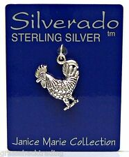 ROOSTER Solid Sterling Silver Pendant Charm w/ Options #1872