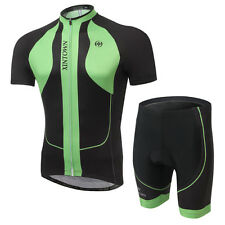 2016 Men Cycling Clothing Short Sleeve Bicyle Jersey (bib) Short Set Green Black