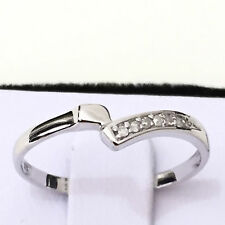 Real 9K Solid White Gold WG 0.03ct Genuine Diamond Ring Size 7, 8