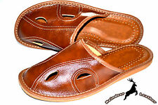 Mens Real Genuine Brown Leather Slippers Shoes Sandal Handmade Poland Soft Scuff