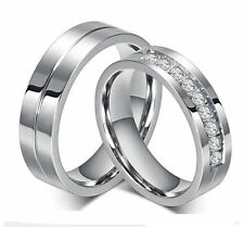 NEW Men's women's stainless steel band couples wedding anniversary ring Sz 5-12