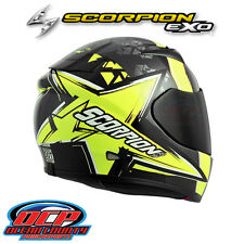 BRAND NEW SCORPION EXO-R710 CRYSTAL BLACK / NEON  FULL FACE MOTORCYCLE HELMET