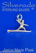 SURFER ON SURFBOARD 3D Solid Sterling Silver Pendant -  Charm w/ Options #1859