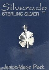 4 FOUR LEAF CLOVER 3D Solid Sterling Silver Pendant -  Charm w/ Options #1885