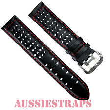 Leather Black Red Stitch Rally Racing Tropic Perforated Watch Strap Band Mens