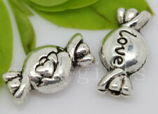 15/60/300pcs Tibetan Silver two-sided candy Jewelry Craft Spacer Beads 11x6mm