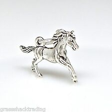 GALLOPING HORSE 3D Solid Sterling Silver Pendant Charm w/ Options #2254