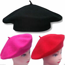 Plain Beret Hat 100% Wool French Winter Autumn Women Ladies Girls Fashion Hats