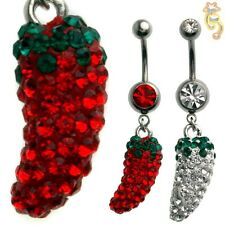 Chili Red Clear Belly Ring CZ Pepper Naval Dangle Body Jewelry Hot Sexy Fun Gem