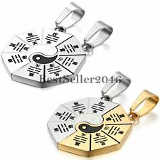 Yin Yang Tai Chi Bagua Eight Trigrams Pendant Stainless Steel Couple Necklace