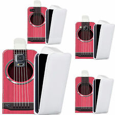 pu leather flip case cover for Mobile phones - pink guitar strings flip