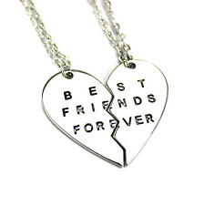 2pc Best Friends Forever Sister Necklace gold silver Plated chain Heart Pendant
