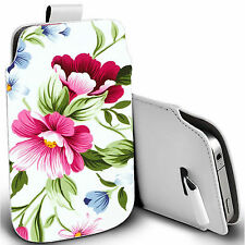 pu leather pull tab pouch case for most Mobiles - green flower pouch