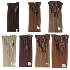 7Pcs/Set Women Synthetic Hair Extension Full Head Clip In Straight Hairpieces