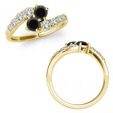 1.75 Carat Black Diamond Two Stone By Pass Cluster Wedding Ring 14K Yellow Gold