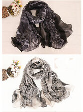 Lady's Stylish Long Soft Cotton Voile Print Scarves Shawl Cozy Scarf Hot Sale