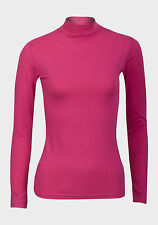 Ladies Assorted Colour Turtle Roll Neck Cotton Long Sleeve T-Shirt Top Sizes M&L