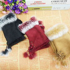 Fashion Girl's Suede Rabbit Fur Hand Wrist Fingerless Winter Gloves Cute