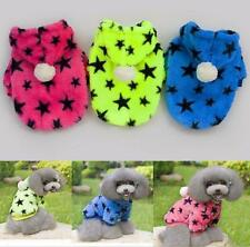Pet Puppy Dog Soft Coral Fleece Hoodie Coat Stars Winter Warm Clothes Costume