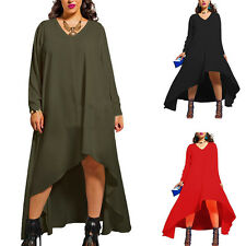 Women Long Sleeve Plus Size V Neck Irregular Club Lady Sexy Loose Casual Dress