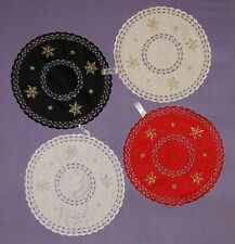 """SNOWFLAKE DOILIES 11"""" (28 CM) RED/GOLD BLACK/GOLD CREAM/GOLD WHITE/SILVER"""