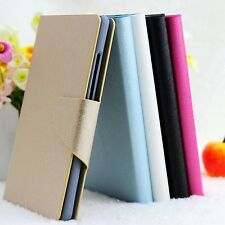 For Samsung Galaxy Mini S5570 Luxury Silk PU Leather Flip Wallet Case Cover