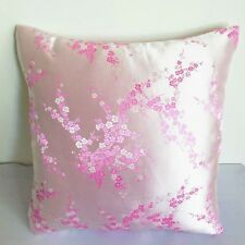 white pink Blossom Chinese Brocade Cushion Cover Made to Order S-L BRCC-404
