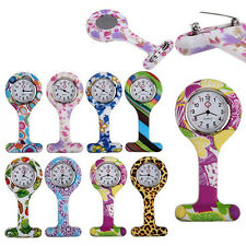 Catchy Patterned Silicone Nurses Brooch Tunic Fob Pocket Watch Stainless Dial