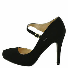 Qupid Waltz 30 Black Women's Almond Toe Open Shank Classic Pump