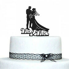 Romantic Mr and Mrs Bride & Groom Heart Wedding Cake Topper Decor