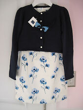 NWT Janie and Jack Blue Château Sweater/Dress/Bow Headband Outfit 8 & 10