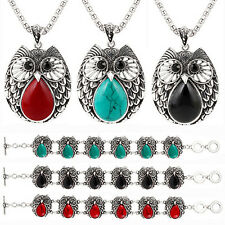 Women Vintage Turquoise Pendant Necklace Owl Drop Earrings Bracelet Jewelry Set