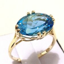 Real 9K Yellow Gold YG 7.25ct Oval cut Natural Earth Mine Swiss Blue Topaz Ring