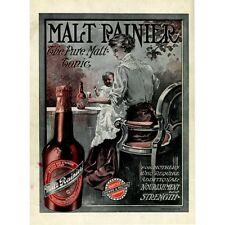 Malt Rainier Beer Ad Seattle Brewing 1909 Advertising Promo Poster Reproduction