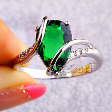 New Emerald White Topaz Women Men Gems Silver Plated Jewelry Ring Size 7 8 Gift