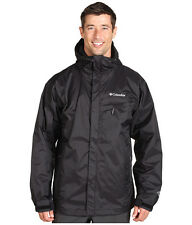 New Columbia mens waterproof Omni Tech hooded rain jacket S M L XL Black