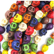 Wholesale 100Pcs Natural Stone Turquoise Carved Skull Loose Spacer Beads 9x7MM