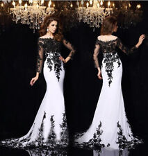 New Women Long Sleese Chiffon Lace Formal Party Prom Gown Evening Dress 6.8.10+