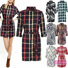 NEW LADIES BELTED SHIRT DRESS WOMENS LONG LOOK BLOUSE BUTTON TOP MINI DRESSES