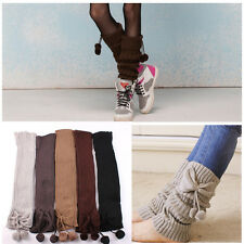 Fashion Women Crochet Knitted Bow Trim Boot Cuffs Toppers Leg Warmers Socks Hot