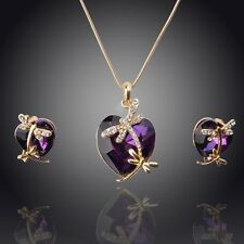 Women 18K Gold plated Crystal Dragonfly Pendant Necklace Earring Jewelry Sets