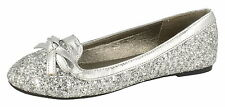 """GIRLS SPOT ON SILVER GLITTER DOLLY SHOES """"H2355"""""""