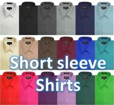 NWT Omega Mens Solid SHORT SLeeve Dress Shirts, 26 Colors