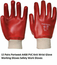 12 Pairs Portwest A400 PVC Knit Wrist Glove Working Gloves Safety Work Gloves BN
