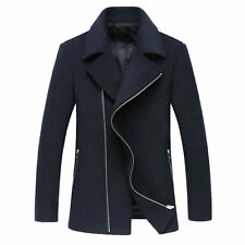 Mens Winter Warm Zipper Wool Pea Coat Outwear Trench Coat Jacket Mac Overcoat