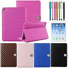 Luxury Quilted Folio PU Leather Case Smart Cover For Apple iPad Air 2 Pen+Film