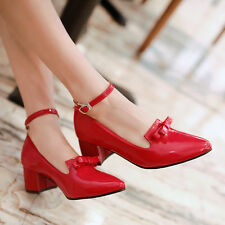 Hot Womens Patent Leather Ankle Buckle Pointed Toe Shoes Pump Mid Heel Plus Size