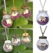 Silver/Gold/Bronze Glass Starfish Pearl Wish Necklace Pendant Long Sweater Chain